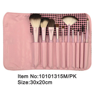 10pcs lovely pink plastic handle animal/nylon makeup brush kit with pink satin case