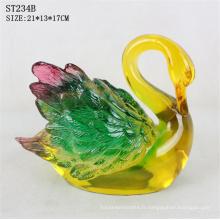 Restaurant décoration polyresine artisanat imité résine cygne jade coloré