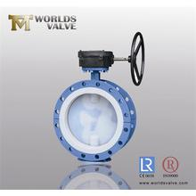PFA Full Lining Double Flanged Butterfly Valve with Ce ISO Approved (D41F-10/16)