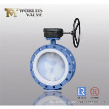 PFA Coating Double Flange Butterfly Valve