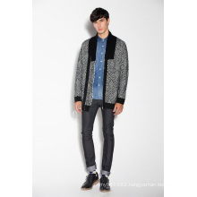 Winter Patterned Knitted Men Cardigan with Zipper