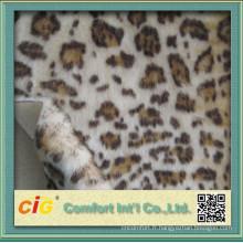 Tissu luxueux en fausse fourrure imprimé léopard
