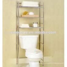 Baño creativo de 3 piezas sobre el estante del inodoro \ Material del cromo Uno mismo de baño con ruedas \ Espacio para ahorrar espacio para el baño