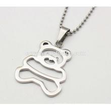 Shiny Silber 316L Edelstahl Metall Cubs Halskette Cute Little Bear Anhänger Halsketten für Mädchen