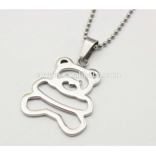 Shiny silver 316L stainless steel metal Cubs necklace Cute Little Bear pendant necklaces for girls
