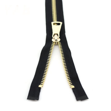 Black Tape Open end Gold Teeth Metal Zipper