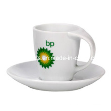 Bend Handle Coffee Mug and Plate