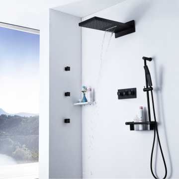 Wall Mounted Hot Cold Black Bathroom Shower Mixer