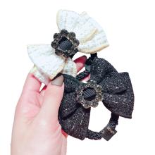 Korean Fabric Black White Bow Knot Hair Tie Rhinestone Elastic Band Ring Cute Girl Ponytail Head Rope Rubber