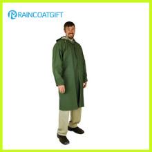 Grüne Farbe Adult PVC-Polyester lange Regenbekleidung