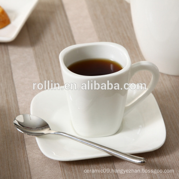 Modern Design Square Coffee Cup, ceramic Espresso Cup, Customized And Logo Printing Cop for Hotel & Restaurant