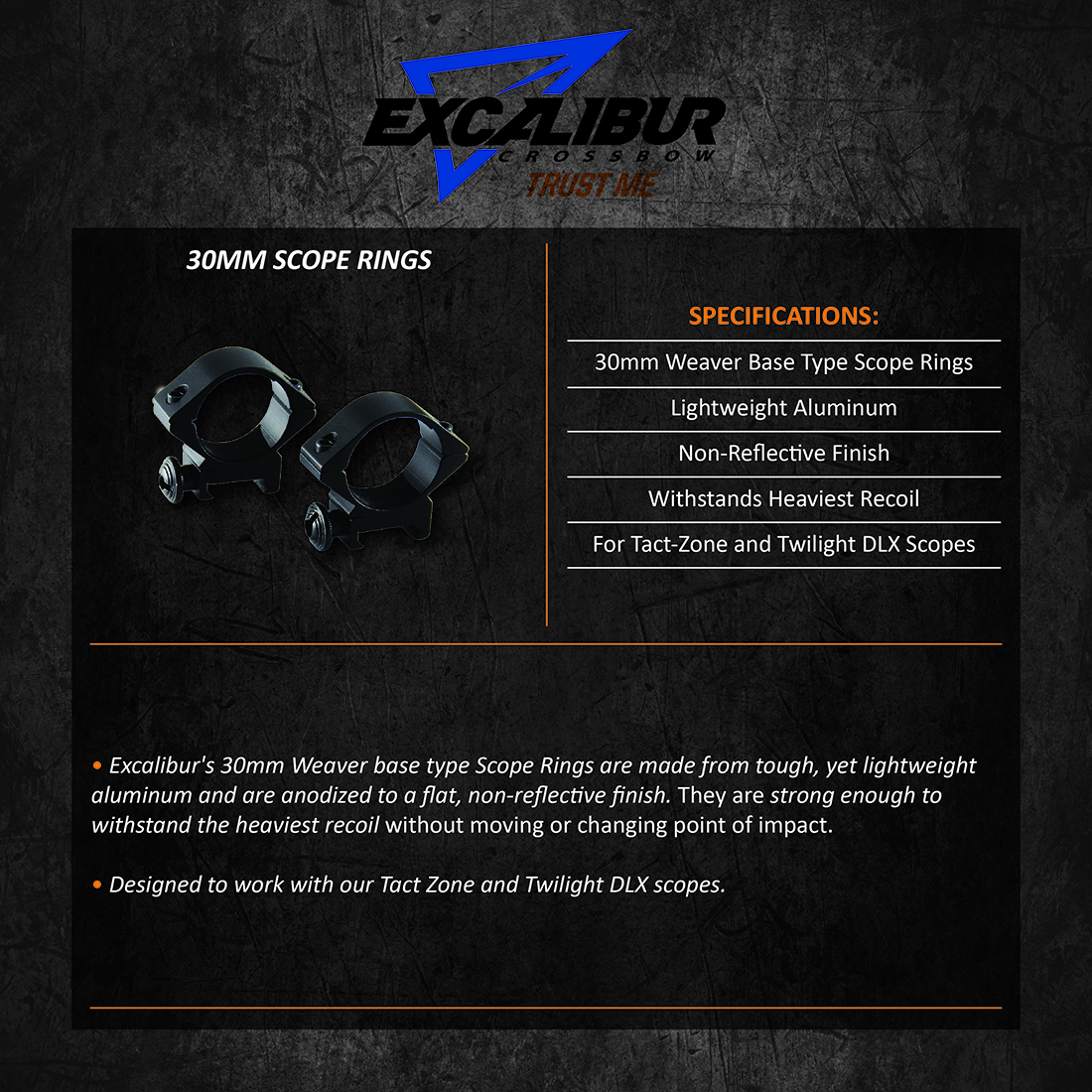 Excalibur_30mm_Scope_Rings_Product_Description
