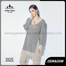 Women Ribbed V Neck Long Sleeve Side Slit Tunic Knitwear