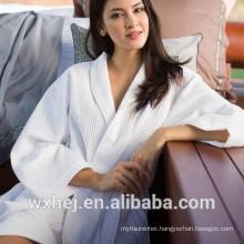 One size fits all poly cotton waffle kimono bathrobe
