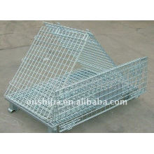 Folding galvanized wire mesh container