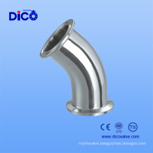 Stainless Steel Sanitary 45 Degree Clamp Elbow