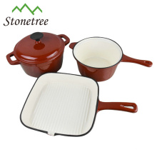 Utensilios de cocina de hierro fundido cacerola de 3 piezas