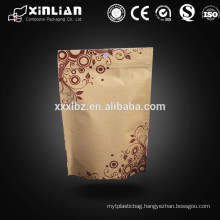 New eco-friendly fashion ziplock stand up kraft paper bag