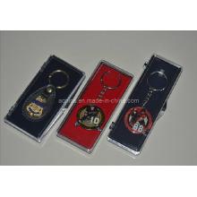 Boîte à monnaie en plastique avec porte-clés en métal