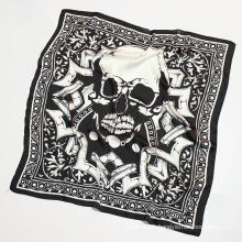 Women′s Silk Like Skull Printing Small Square 70*70cm Scarf (SW149)