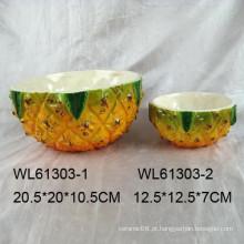 Handpainting cerâmica abacaxi fruteira em grande tamanho