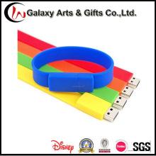 Цветастые изготовленные на заказ напечатанный silkscreen 16 Гб USB wristband силикона