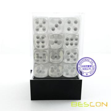 Bescon 12mm 6 Sided Dice 36 in Brick Box, 12mm Sechs Sided Die (36) Block der Würfel, Translucent White mit Pips