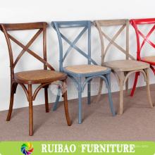 Hot Sell populares de estilo francés Rattan Reclaimed sillas de comedor de madera