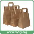 Eco-Friendly marrón Natural bolsas de regalo de papel Kraft con manijas planas