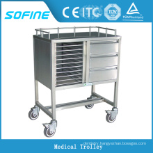 SF-HJ2801 stainless steel hospital emergency trolley equipment