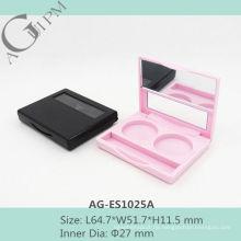 Einfache rechteckige zwei Farben Lidschatten Fall mit Spiegel AG-ES1025A, AGPM Kosmetikverpackungen, benutzerdefinierte Farben/Logo