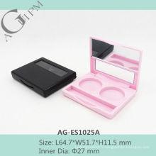 Simple rectangulaire deux couleurs fard à paupières cas avec miroir AG-ES1025A, AGPM empaquetage cosmétique, couleurs/Logo personnalisé
