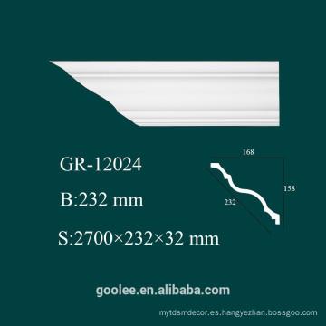 Precio de fábrica interior y exterior molduras decorativas de cornisa plana de PU