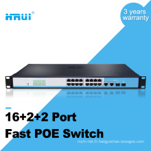 OEM 100M 2 gigabit combo port 16 port poe commutateur
