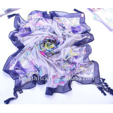 Polyester square scarf with decorations