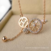 Werbeartikel künstliche Gold lange Kette Nachahmung Halskette personalisierte Brief h und Rad Kristall Halskette