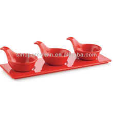 Set de tapas en céramique couleur rouge avec base pour BS12092B