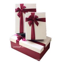 Qualidade texturizada cor de papel de arte caixas de correspondência com decoração de fita