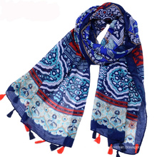 Hot selling bohemia style summer cotton voile fabric scarf shawl with tassel printed Pakistani hijab scarf