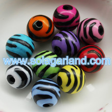 10/12/16/20MM Acrylic Round Striped Zebra Pony Ball Beads
