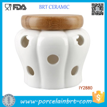 White Garlic Storage Jar Ceramic Candle Jar with Wood Lid