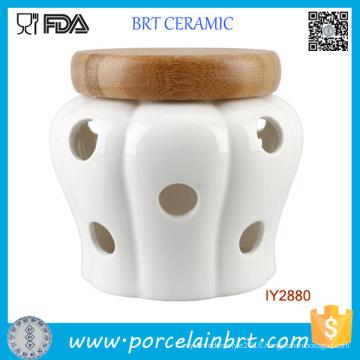 White Garlic Storage Jar Ceramic Candle Jar with Wood Lid