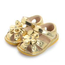 Gold Big Flower Baby Squeaky Sandals