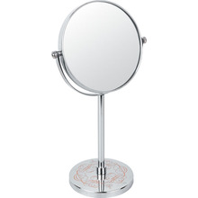 Metal Makeup Mirror With Flower Printing On The Stand