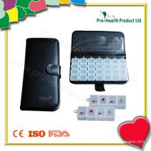 Carteira PU de 7 dias de caixa de comprimidos de plástico