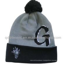 Jacquard Embroidery POM Cuff Acrylic Sport Winter Beanie (TMBK1441-1)