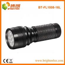 Fábrica de fornecimento de cor preta alumínio metal 16 levou aaa lanterna tocha luz com grip de borracha