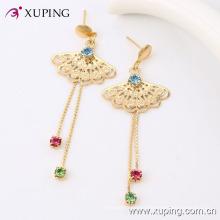 24146 Best selling new design stylish jewelry long tassel gold plated diamond drop earring