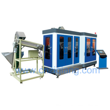 Fully automatic pet bottle blow moulding machine for handled bottle
