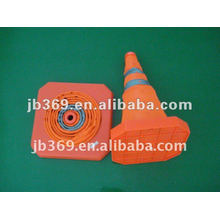 Retractable safety road cone with LED light